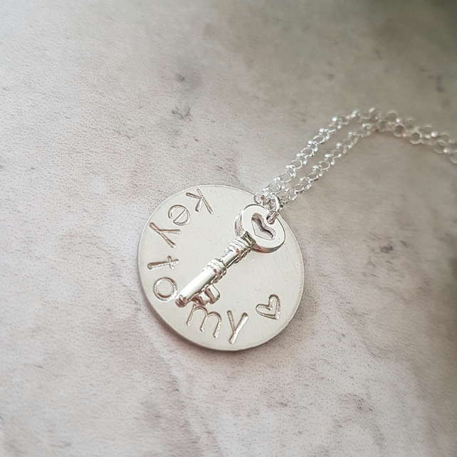 Hand stamped key to my heart necklace