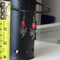 Fairy With Pink Faceted Bead Earrings