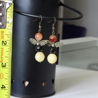 Angel - Fairy Earrings With Carnelian & Gemstone Beads.
