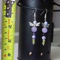 Angel - Fairy Earrings With Gemstone Beads.