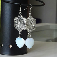 Flower & Opalite Heart Earrings