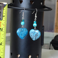 Pair of Turquenite Heart & Bead Earrings - Reduced - Slightly Mismatched Colour