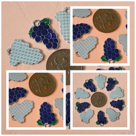 10 x Purple Enamel Grapes Charms