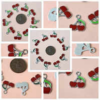 10 x  Red Enamel Cherry Charms