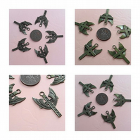 5 x Antique Bronze Cross Pendants