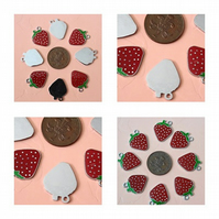 8 x  Red Enamel Strawberry Charms