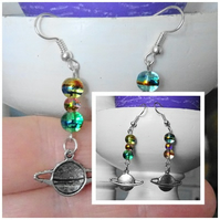 Saturn Planet and Bead Earrings