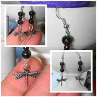 Dragonfly and Bead Earrings