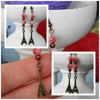 Eiffel Tower & Bead Earrings