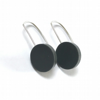 Wee Circle Earrings - Slate Grey