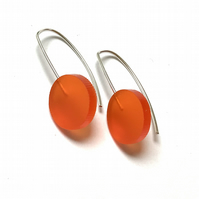 Wee Circle Earrings - Frosted Orange
