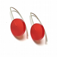 Wee Circle Earrings - Frosted Red