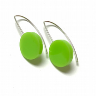 Wee Circle Earrings - Lime Green