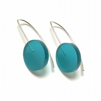 Wee Circle Earrings - Frosted Turquoise