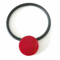 Big Cherry Red Circle Pendant and Choker