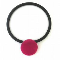Big Pink Circle Pendant and Choker