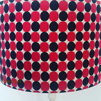 Drum Lampshade 40cm Red Black White Spots Light Shade African Print Fabric Decor