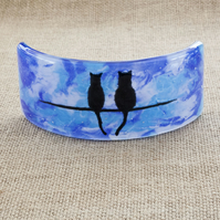 Blue Cat Silhouette Freestanding Fused Glass Picture Ornament