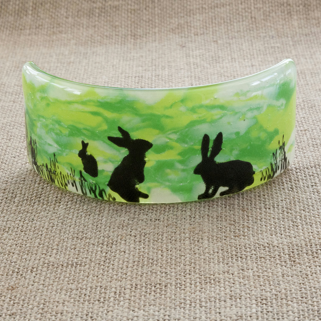 Green Rabbits Silhouette Freestanding Fused Glass Picture Ornament