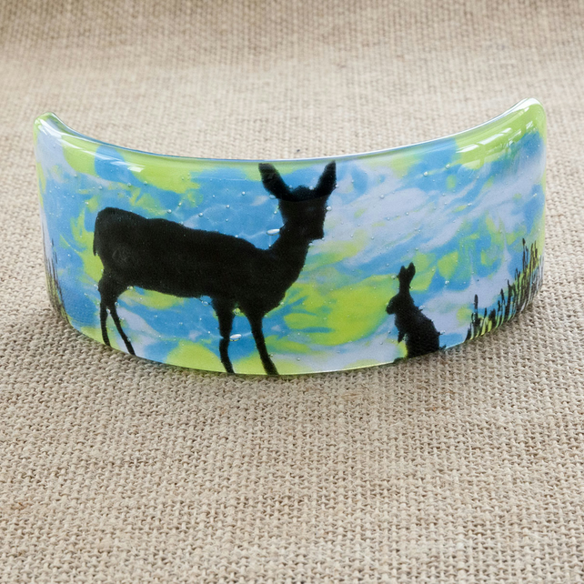 Adorable Rabbit and Deer Silhouette Freestanding Fused Glass Picture Ornament