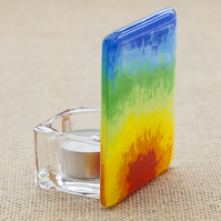 Fused Glass Rainbow Tea-Light Candle Holder