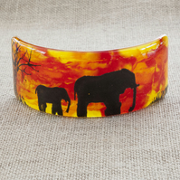 African Elephant Silhouette Freestanding Fused Glass Picture Ornament