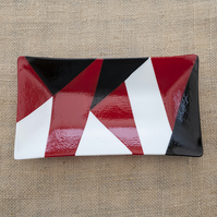 Geometric Red, Black and White Fused Glass Decorative Rectangular Plate