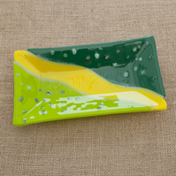 Wizard of Oz inspired Yellow and Green Fused Glass Decorative Rectangular Plate