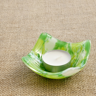 Spring Green Marbled Fused Glass Trinket Ring Candle Dish