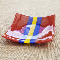 Red, Yellow and Blue Stripy Striped Fused Glass Plate