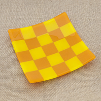 Chequered Yellow and Orange Fused Glass Decorative Plate