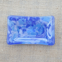 Blue Marbled Watery Fused Glass Trinket, Key, or Soap Dish