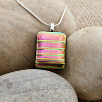 Brightly Coloured Pink and Rainbow Dichroic Fused Glass Pendant