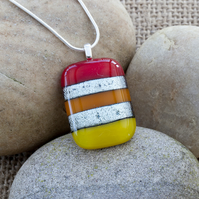 Red, Orange and Yellow Colourful Fused Glass Pendant with Silver Dichroic