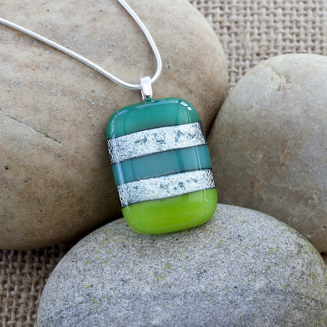 Colourful Green Stripy Fused Glass Pendant with Silver Dichroic