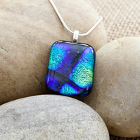 Dramatic Purple and Blue Abstract Fused Glass Dichroic Pendant