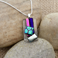 Multi-Coloured Textured Abstract Fused Glass Dichroic Pendant