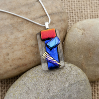 Primary Colours Textured Abstract Fused Glass Dichroic Pendant