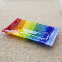 Rainbow Stripy Brightly Coloured Fused Glass Decorative Rectangular Plate