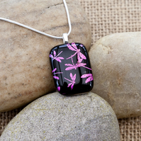 Pink Dragonfly Etched Dichroic Fused Glass Pendant