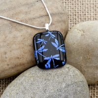 Dark Blue Dragonfly Etched Dichroic Fused Glass Pendant