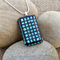 Large Square Patterned Dichroic Fused Glass Pendant