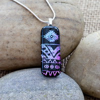Purple Aztec Patterned Dichroic Fused Glass Pendant