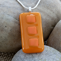 Brightly Coloured Orange Rectangular Dichroic Fused Glass Pendant