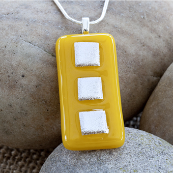 Brightly Coloured Yellow Rectangular Dichroic Fused Glass Pendant