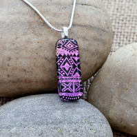 Pink Aztec Patterned Dichroic Fused Glass Pendant