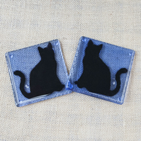 Black Cat Fused Glass Coasters