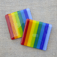 Stripy Rainbow Fused Glass Coasters