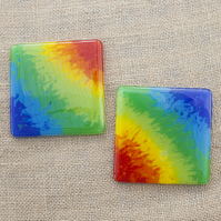 Marbled Watercolour-Effect Rainbow Fused Glass Coasters