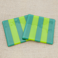 Green Striped Fused Glass Coasters